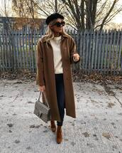 coat,brown coat,brown boots,handbag,beret,jeans,white sweater