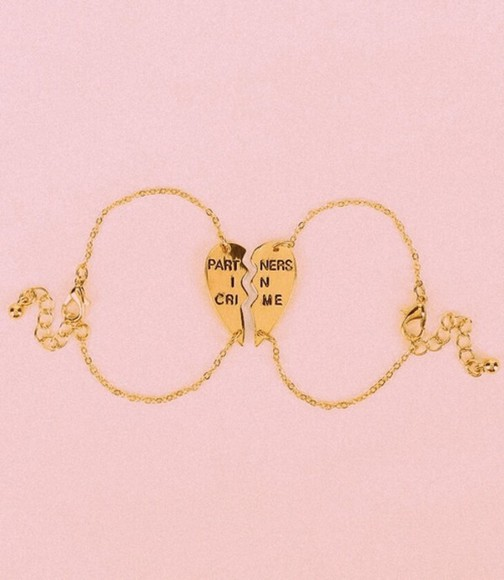 jewels gold friendship bracelet jewerly partners in crime heart bestfriend rose gold bracelets best friend bracelet urban outfitters