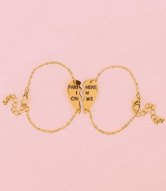 Gold Best Friend Bracelets: Jewels: Partners In Crime, Gold, Heart, Bff, Rose Gold