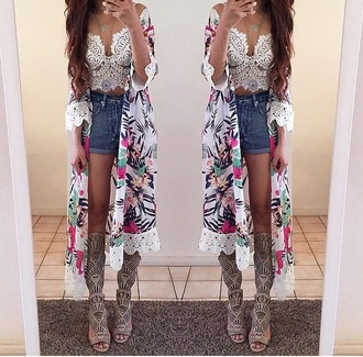 top cream lace shoes cardigan