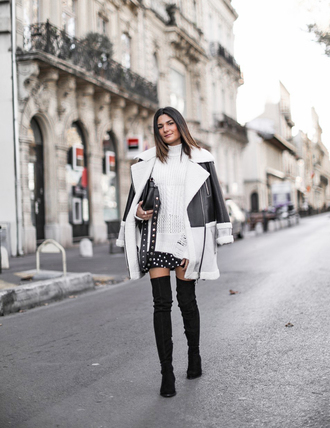 jacket tumblr shearling jacket black shearling jacket shearling sweater turtleneck turtleneck sweater white sweater boots black boots over the knee boots over the knee