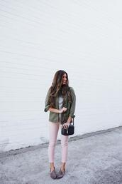 mint arrow,blogger,leggings,jeans,sunglasses,sweater,bag,shoes,green jacket,shoulder bag,pink pants