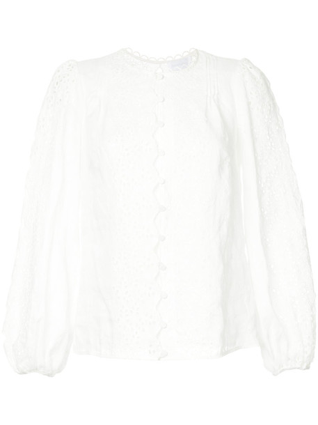 blouse embroidered women white cotton top