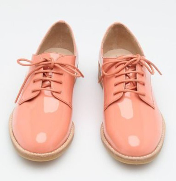 faux oxfords oxfordshoes laceup peach