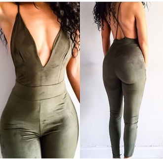 jumpsuit green dark spaghetti strap tight sexy long romper