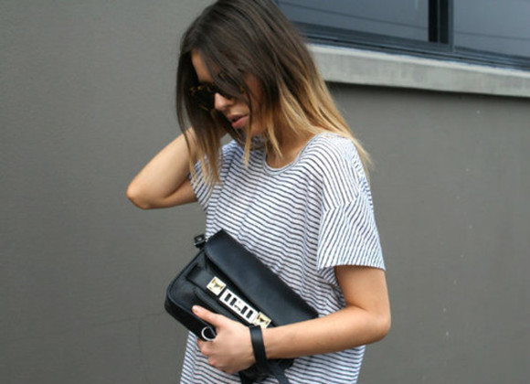 bag leather bag shirt short sleeve top black bag t-shirt stripes striped shirt short sleeve the black bag
