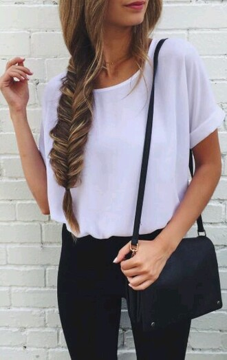 bag blouse white white blouse shirt sheer sheer blouse white top style cute pretty white t-shirt tumbltu need these shirts!❣ top bag black small t-shirt white tee fashion leggings tumblr black bag shoulder bag jeans black jeans braid hairstyles