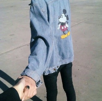 jacket demin jacket mickey mouse disney grunge hipster