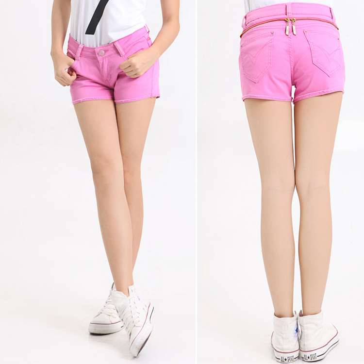 Summer women's zipper gossip decoration elastic denim shorts pink super all match shorts-inJeans from Apparel & Accessories on Aliexpress.com