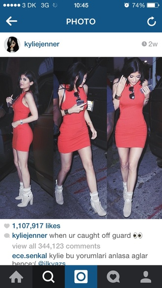 dress red ribbed sleeveless short knitted kylie jenner jewels