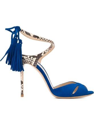 tassel women sandals leather blue suede shoes