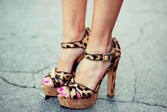leopard print high heels sandals plateau peep toe ankle strap beautyful