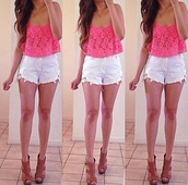 blouse,pink blouse,lace,crop tops,top,shorts,tank top,shoes