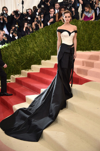 chicityfashion blogger pants bustier top met gala dress gown prom dress long prom dress long dress metgala2016 emma watson bustier dress off the shoulder dress off the shoulder calvin klein dress calvin klein maxi dress black and white dress red carpet dress celebrity