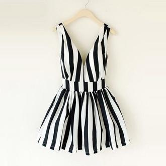 dress black and white dress striped dress