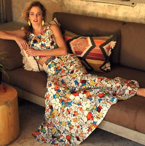 mosaic skirt crop tops top glass anthropologie stained glass mosaic top skirt and top maxi skirt maxi dress unique unique dress multicolor multicolored multi colored multi color vibrant bright colored multiple colors white alessandra ambrosio