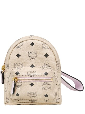 mini backpack leather backpack pouch leather beige bag