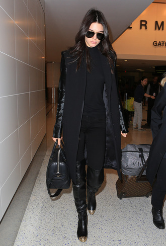 coat boots kendall jenner all black everything fall outfits bag