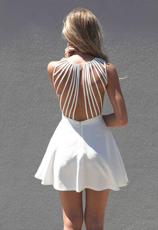 White In The Moment  Lattice back detail Dress | Xenia Boutique | ASOS Marketplace