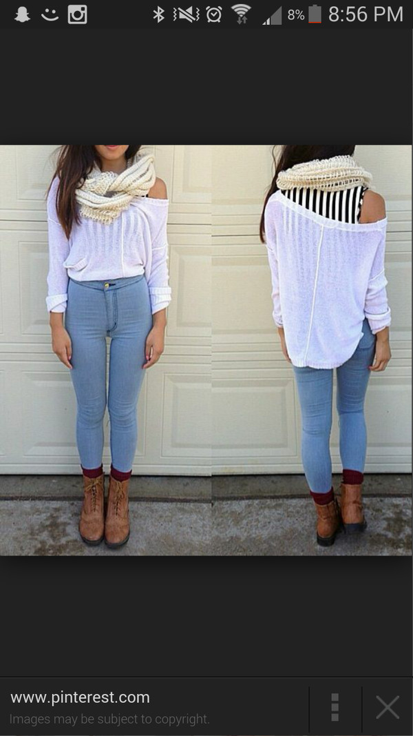 jeans high waisted jeans scarf blouse
