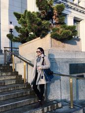 orchid grey,blogger,scarf,t-shirt,shirt,coat