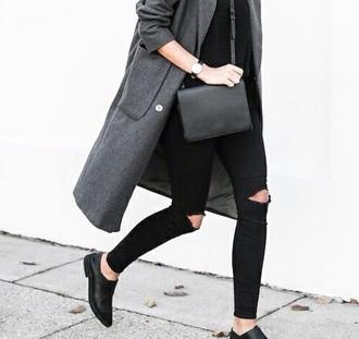 coat grey long chic fashion shoes bag
