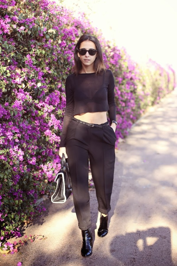 style in lima pants t-shirt sunglasses shoes bag
