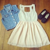 dress,white,white dress,cute,summer,denim,denim vest,denim jacket,hot,shoes,summer dress,gorgeous,cream,studded,cut-out,short dress,vintage,beige,jacket,black shoes,studs,hipster,pastel,chic,soft pink dress,pastel pink dress,pink and white,skater dress,style,tumblr dress