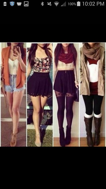 skirt shirt scarf jacket pants shorts shoes necklace