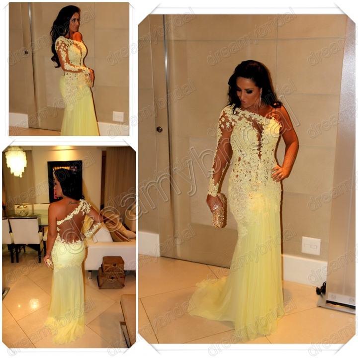 Marianne Rabelo vestidos de festa One Shoulder Appliques Backless Sweep Train sheath 2013 Celebrity Dresses New Evening Dresses-in Evening Dresses from Apparel & Accessories on Aliexpress.com