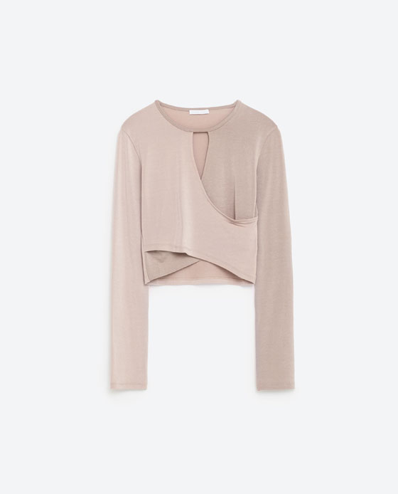 T - SHIRT CROISÉ À FENTE-Ballet collection-FITNESS-FEMME-COLLECTION AW16 | ZARA France