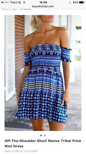 dress blue summer off the shoulder boho tan festival trendy spring beach beautifulhalo