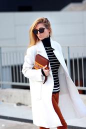 sirma markova,blogger,striped sweater,pouch,striped turtleneck sweater,bag,brown bag,white coat,sunglasses,black sunglasses,rust