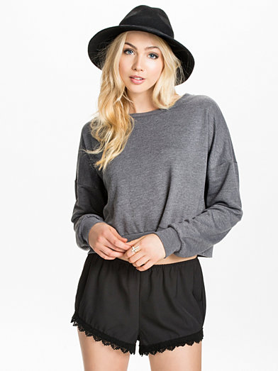 Vippa Cropped Top Sweat - Only - Dark Grey - Jumpers & Cardigans - Clothing - Women - Nelly.com Uk