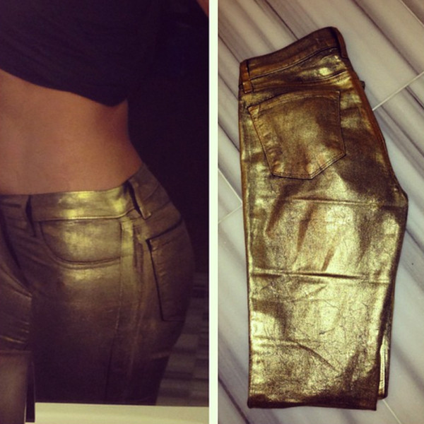 pants gold skinny jeans