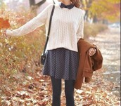 sweater,white,knitted sweater,cable knit,white sweater,dress,blue,polka dots dress