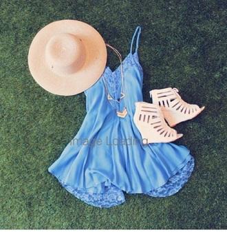 dress blue dress summerdress lace dress hat