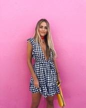 dress,gingham,mini dress,v neck dress,v neck,plunge v neck,summer dress