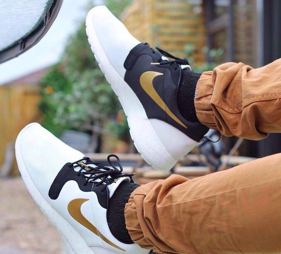 shoes white shoes nike sneakers gold and black nike running shoes roshes run tropical roshe runs, nikes, neon, floral