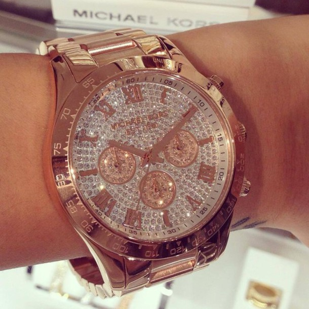 jewels michael kors watch gold bronze michae kors