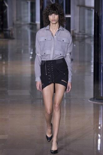 skirt shirt pumps mini skirt paris fashion week 2016 runway model fashion week 2016 anthony vaccarello