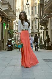 skirt,maxi skirt,waist belt,long skirt,pattern,high waisted,bag,where to get this skir,coral