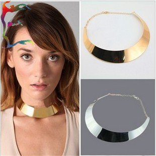 Wholesale fashion gold silver round metal choker necklace 6pcs/Lot casual punk short necklace jewelry Free shipping-in Choker Necklaces from Jewelry on Aliexpress.com