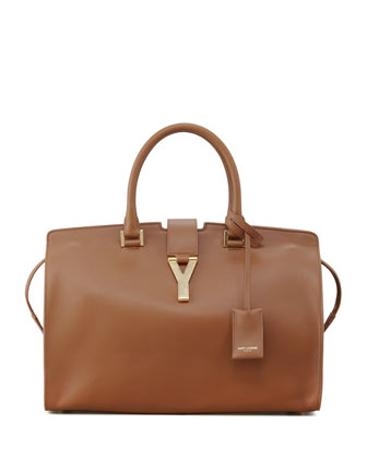Saint Laurent Classic Cabas Y-Ligne Leather Carryall Bag, Brown - Bergdorf Goodman