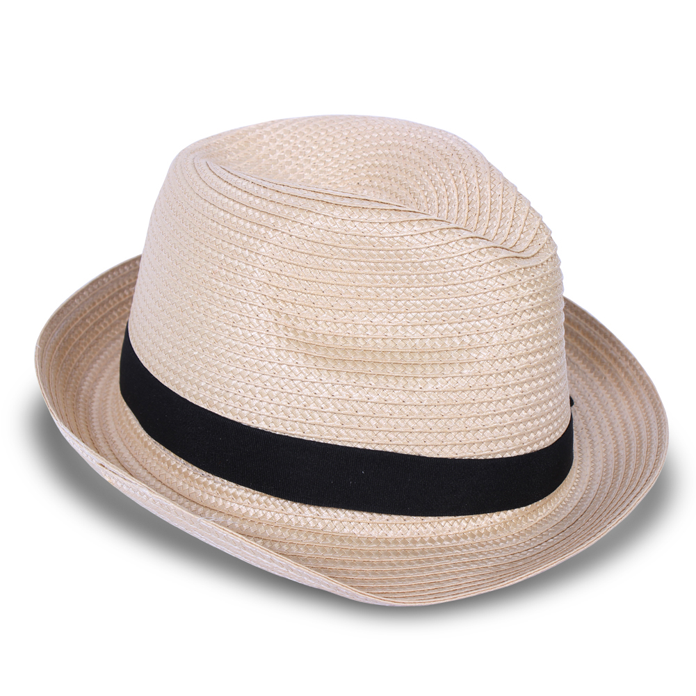 Fashion Fedora Trilby Gangster Straw Panama Hat Cap Men Women ... bd5a13846c4