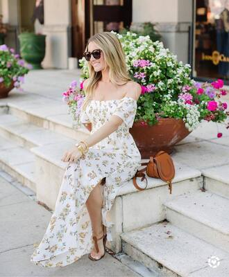 dress tumblr white dress floral floral dress floral maxi dress maxi dress long dress bag brown bag sandals flat sandals shoes