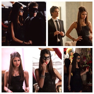 the vampire diaries black black dress nina dobrev katherine pierce lace dress dress evening wear little dress