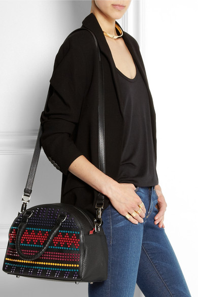 Christian Louboutin|Panettone small spiked textured-leather tote|NET-A-PORTER.COM