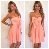 dress,strapless,coral,salmon,bandeau,peach,bow,chiffon,bows,peach dress,pink,cute dress,pink dress,girly,pretty,bow dress,pastel,now,strapeless,strapeless dress,backless,backless dress,bowknot,bowknot dress,sexy,sexy dress,casual sexy dress,casual dress,clubwear,summer,summer dress,chiffon dress,summer outfits,zaful,mini dress,cute,trendy,fashion,spring,rose wholesale-feb