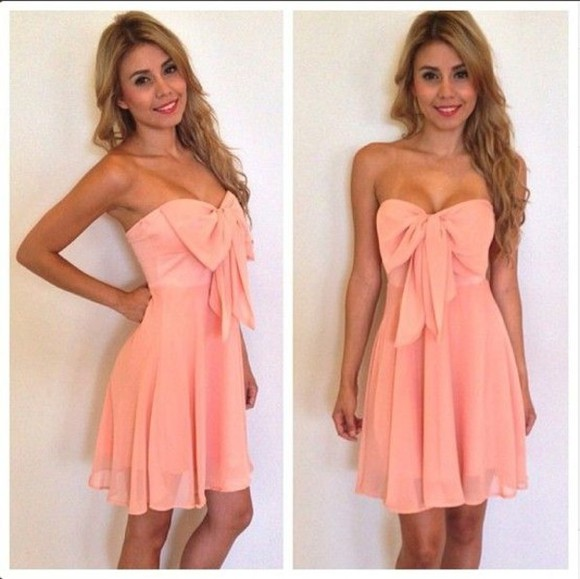 bow coral salmon dress peach strapless bandeau chiffon